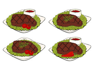 set of  elements, steak on a plate, different design dishes, with lettuce, tomatoes, sauce, chili and rosemary. Hand drawn. Fast food. Can be used for menus, packaging, advertisements. Isolated image.