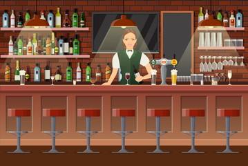 Interior of pub, cafe or bar.