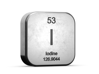 Iodine element from the periodic table. Metallic icon 3D rendered on white background