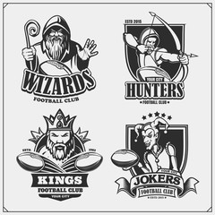 Set of football emblems, badges, logos and labels with hunter, wizard, king and joker. Print design for t-shirts.
