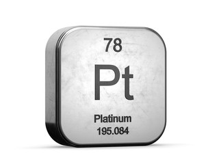 Platinum element from the periodic table series. Metallic icon set 3D rendered on white background