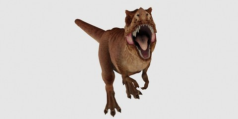 Extremely detailed and realistic high resolution 3d illustration of a T-Rex Dinosaur isolated on white Background