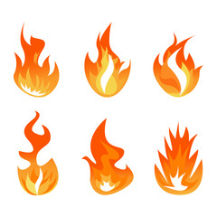 Vector set of fire and flame bonfires