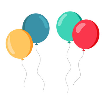Set of colorful baloons red green yellow blue