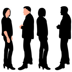 white background, black silhouette people friends stand