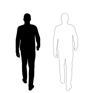 vector on white background man goes black silhouette