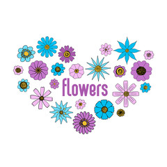 Isolated floral vector set. Hand drawn lineart flower illustrations collection, blue and purple on white background