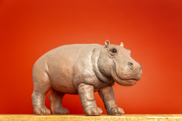 hippopotamus figure isolated on red background
