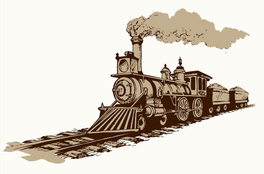 Vector illustration. Locomotive