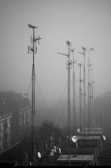 antenne on rooftop in the city
