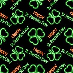 Saint Patrick's Day Neon pattern. Vector Illustration.