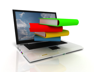 3d laptop and books