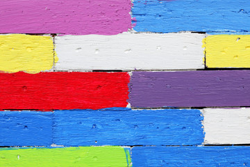 close up texture of colorful wooden panel background