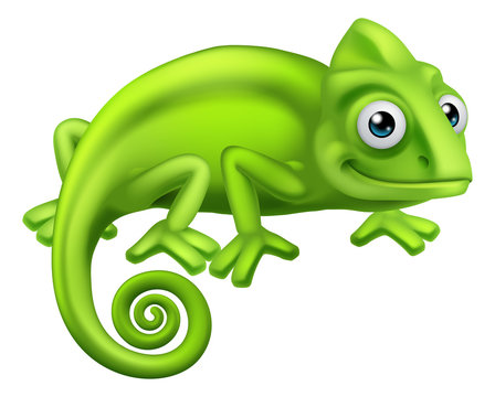 A chameleon green lizard cartoon character illustration