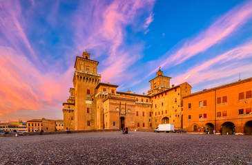 Castle Estense (Castello Estense) in Ferrara, Emilia-Romagna, Italy. Ferrara is capital of the Province of Ferrara Wall mural