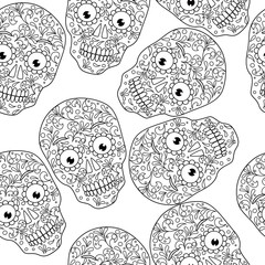 vector illustration skull pattern coloring