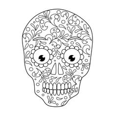 skull coloring book vector illustration