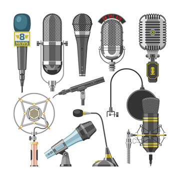 Microphone audio vector dictaphone and microphones for podcast broadcast or music record technology set of broadcasting concert equipment illustration isolated on white background
