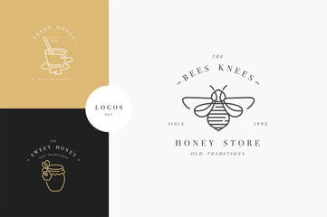 Vector set illustartion logos and design templates or badges. Organic and eco honey labels and tags with bees. Linear style and golden color.