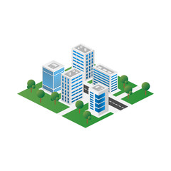 Megapolis 3d isometric three-dimensional view of the city. Collection of houses, skyscrapers, buildings, built and supermarkets with streets and traffic
