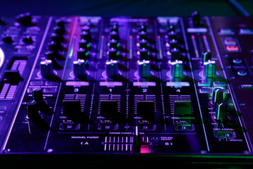 DJ control gear, electronic night party