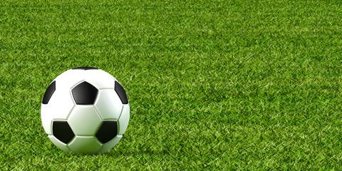 サッカーボールと芝生の3Dイラスト