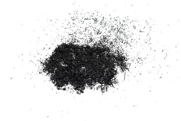 black polymer particles on a white background. texture
