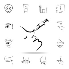 syringe in the nose icon. Detailed set of anti-aging procedure icons. Premium graphic design. One of the collection icons for websites, web design, mobile app