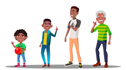 African American Male Vector. Grandfather, Father, Son, Grandson Vector. Isolated Illustration
