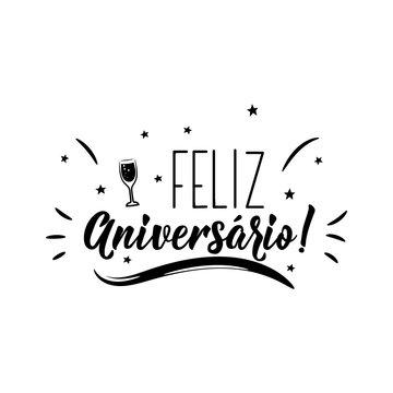 Happy Birthday in Portuguese. Ink illustration with hand-drawn lettering. Feliz Aniversario