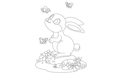 Cute rabbit with butterfly cartoon outline drawing