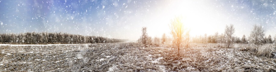 Winter landscape of snow and frost with free space for your decoration