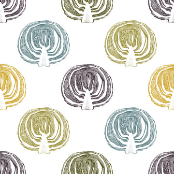Hand drawn red (purple) cabbage with  leaves and head. Vintage vegetables background. Vector harvest seamless pattern.
