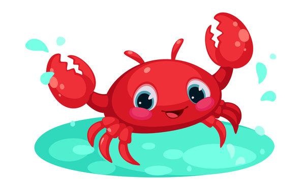 Red cute crab cartoon