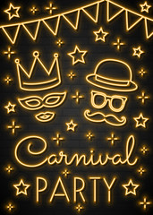 Concept of a neon invitation for Carnival Party. Vector