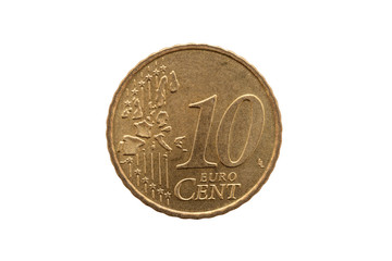 Ten cent euro coin of Germany dated 2002 cut out and isolated on a white background