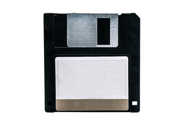 old computer floppy disk on white
