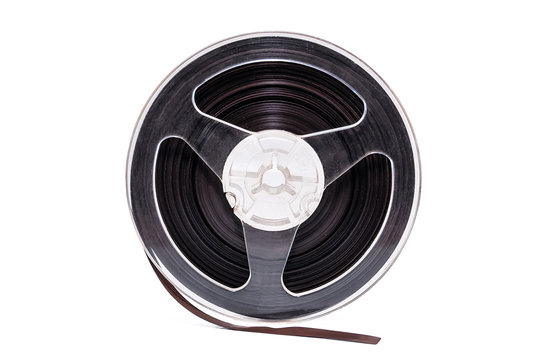 Plastic bobbin with magnetic tape on white