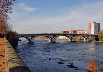 the riverside of river Garonne in city Toulouse