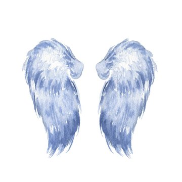 Hand drawn watercolor wings isolated on white background.