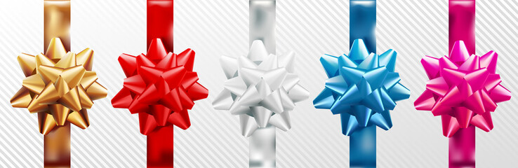 Golden, red, silver, blue, pink gift bow set with vertical ribbon. Isolated on white background. Vector illustration. Christmas, New Year, birthday gold decoration. For banner, greeting card, poster.