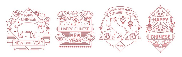 Set of holiday banner templates with Happy Chinese New Year 2019 inscription decorated with pigs, traditional fans and lanterns drawn on line art style. Vector illustration.