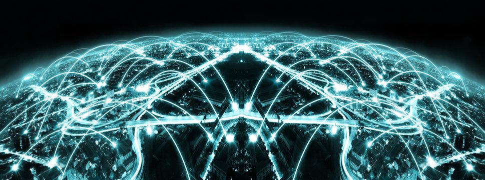 Fondo abstracto de internet y comunicación en la ciudad inteligente.Trabajo en red y conexión