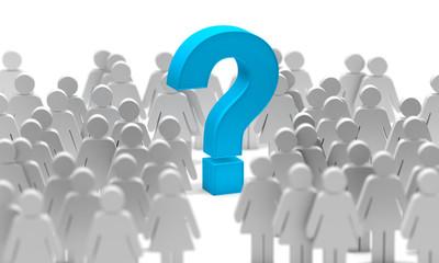 Signo de interrogación. Símbolo o icono de la mujer aislado sobre el fondo blanco. Concepto de feminismo e igualdad entre hombres y mujeres. Preguntas y dudas de la mujer. 3d ilustración