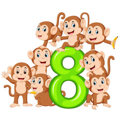 the 8 jelly number with so many monkey on it