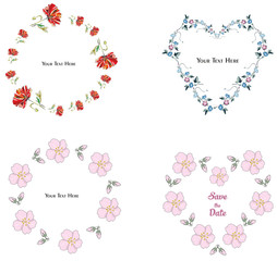 Flower frame collection on the white background