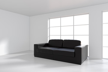 Front view of black leather sofa on gray wall background. 3d rendering.
