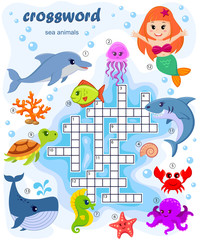 Crossword puzzle game of sea animals