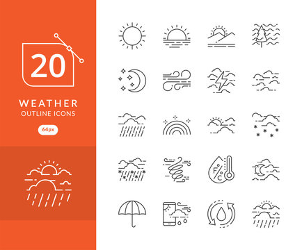 weather icon set. Collection of weather thin line icons, Simple set of weather line icons. Contains symbols of the sun, clouds, wind, snow, moon, and much more