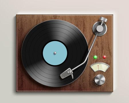 Vintage record player with retro vinyl disc. Realistic illustration.